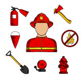 Fireman and fire fighting symbols Royalty Free Stock Photography