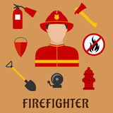 Fireman with fire fighting tools, flat icons. Firefighter profession flat icons with man in red protective helmet and suit, flanked by fire axe, conical bucket Stock Images