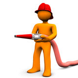 Fireman Fire Hose. Fireman with red helmet and fire hose. White background Stock Image