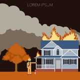 Fireman and a fire in the house. Vector imageof the Fire in the house  and  an Fireman Stock Photos