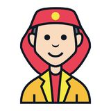 Fireman fire job avatar people character. People, character, avatar icon set with many kind of jobs Stock Photo