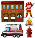 Fireman and fire station. Illustration Stock Image