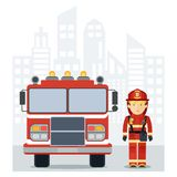 Fireman fire track on city Royalty Free Stock Photography