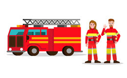 Fireman and fire woman on the background of the service car.  fl. At Fireman character design. vector illustration Stock Photos