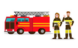 Fireman and fire woman on the background of the service car. Flat Fireman character design. vector illustration Stock Photography