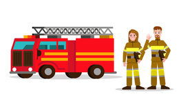 Fireman and fire woman on the background of the service car. Flat Fireman character design. vector illustration Royalty Free Stock Photography