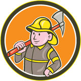 Fireman Firefighter Axe Circle Cartoon. Illustration of a fireman fire fighter emergency worker holding axe on shoulder set inside circle on isolated background Royalty Free Stock Photos