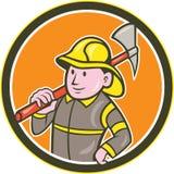 Fireman Firefighter Axe Circle Cartoon Royalty Free Stock Photos
