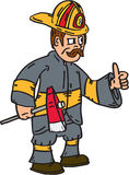Fireman Firefighter Axe Thumbs Up Cartoon Stock Photo