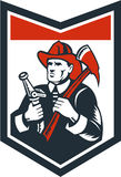 Fireman Firefighter Carry Axe Hose Shield Woodcut. Illustration of a fireman fire fighter emergency worker looking up holding fire hose and fire axe inside Royalty Free Stock Photos