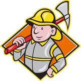 Fireman Firefighter Emergency Worker. Illustration of a fireman fire fighter emergency worker with fire ax done in cartoon style set inside diamond shape Royalty Free Stock Photography