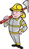 Fireman Firefighter Emergency Worker. Illustration of a fireman fire fighter emergency worker with fire ax done in cartoon style standing on isolated white Royalty Free Stock Photos