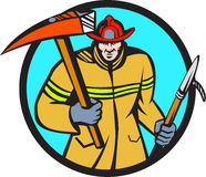 Fireman Firefighter Fire Axe Hook Circle Retro Royalty Free Stock Photography