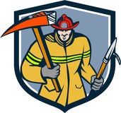 Fireman Firefighter Fire Axe Hook Crest Retro. Illustration of a fireman fire fighter emergency worker holding a fire axe and hook viewed from front set inside Stock Image
