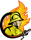 Fireman firefighter with fire hose. Illustration of a Fireman or firefighter with fire hose and fire in the background Royalty Free Stock Photo