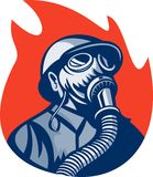 Fireman firefighter gas mask Royalty Free Stock Images