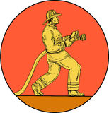 Fireman Firefighter Holding Fire Hose Circle Drawing Stock Images