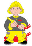 Fireman or firefighter illustration. Cartoon illustration of a fireman or firefighter with water hose Royalty Free Stock Photos