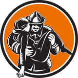 Fireman Firefighter Saving Girl Circle Woodcut Royalty Free Stock Image