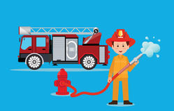 Fireman firefighter in uniform with water hose. Fireman firefighter in uniform with water hose, emergency vehicle fire engine truck,  firefighting concept Royalty Free Stock Photo