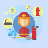 Fireman Firefighter Worker Icon. Flat Vector Illustration Stock Photos