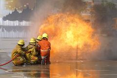 Fireman. Firefighters training. stock images