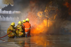 Fireman. Firefighters training. royalty free stock image