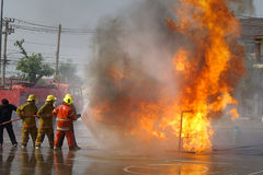 Fireman. Firefighters training. Royalty Free Stock Photos