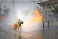 Fireman. Firefighters training. stock image