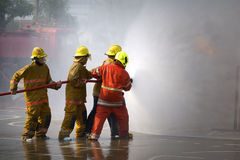 Fireman. Firefighters training. Royalty Free Stock Photo