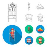 Fireman, flame, fire truck. Fire departmentset set collection icons in outline,flat style vector symbol stock. Fireman, flame, fire truck. Fire department set Stock Photography