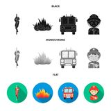 Fireman, flame, fire truck. Fire departmentset set collection icons in black, flat, monochrome style vector symbol stock. Fireman, flame, fire truck. Fire Royalty Free Stock Photo