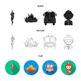 Fireman, flame, fire truck. Fire departmentset set collection icons in black,flat,outline style vector symbol stock. Fireman, flame, fire truck. Fire department Royalty Free Stock Photo