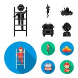 Fireman, flame, fire truck. Fire departmentset set collection icons in black, flat style vector symbol stock. Fireman, flame, fire truck. Fire department set Royalty Free Stock Image
