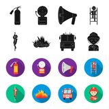 Fireman, flame, fire truck. Fire departmentset set collection icons in black,flet style vector symbol stock illustration.  Stock Photography
