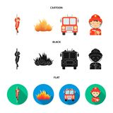 Fireman, flame, fire truck. Fire departmentset set collection icons in cartoon,black,flat style vector symbol stock. Fireman, flame, fire truck. Fire department Stock Image