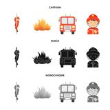 Fireman, flame, fire truck. Fire departmentset set collection icons in cartoon,black,monochrome style vector symbol. Fireman, flame, fire truck. Fire department Royalty Free Stock Photography