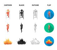 Fireman, flame, fire truck. Fire departmentset set collection icons in cartoon,black,outline,flat style vector symbol. Fireman, flame, fire truck. Fire Royalty Free Stock Images
