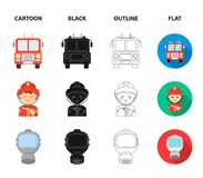 Fireman, flame, fire truck. Fire departmentset set collection icons in cartoon,black,outline,flat style vector symbol. Fireman, flame, fire truck. Fire Royalty Free Stock Photo