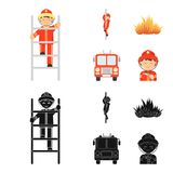 Fireman, flame, fire truck. Fire departmentset set collection icons in cartoon,black style vector symbol stock. Fireman, flame, fire truck. Fire department set Stock Images