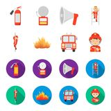 Fireman, flame, fire truck. Fire departmentset set collection icons in cartoon,flat style vector symbol stock. Illustration Royalty Free Stock Image