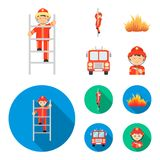 Fireman, flame, fire truck. Fire departmentset set collection icons in cartoon,flat style vector symbol stock. Fireman, flame, fire truck. Fire department set Royalty Free Stock Photography