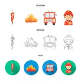 Fireman, flame, fire truck. Fire departmentset set collection icons in cartoon,outline,flat style vector symbol stock. Fireman, flame, fire truck. Fire Royalty Free Stock Image