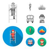 Fireman, flame, fire truck. Fire departmentset set collection icons in monochrome,flat style vector symbol stock. Fireman, flame, fire truck. Fire department set Royalty Free Stock Image
