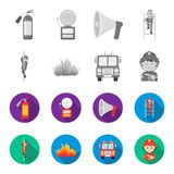 Fireman, flame, fire truck. Fire departmentset set collection icons in monochrome,flat style vector symbol stock. Illustration Stock Photo