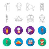 Fireman, flame, fire truck. Fire departmentset set collection icons in outline,flat style vector symbol stock. Illustration Royalty Free Stock Image