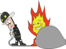Fireman and flame. Fireman getting tricked by flame Royalty Free Stock Photos