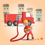 Fireman format. Fireman working very hard for people Stock Photo