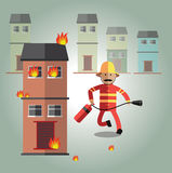 Fireman format. Fireman working very hard for people Royalty Free Stock Images