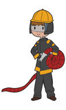 Fireman. Freehand drawn fireman cartoon holding a hose Royalty Free Stock Photography